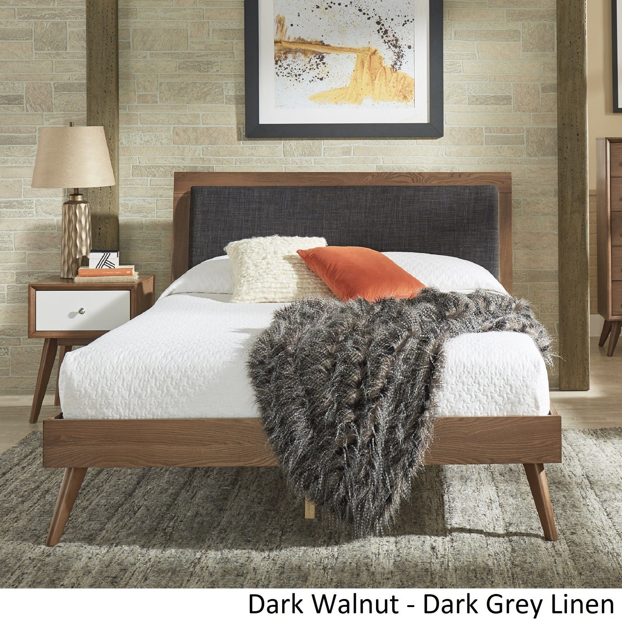 Sylvia Queen Size Mid-Century Linen and Wood Bed by iNSPIRE Q Modern (Light  Oak - Beige Linen)