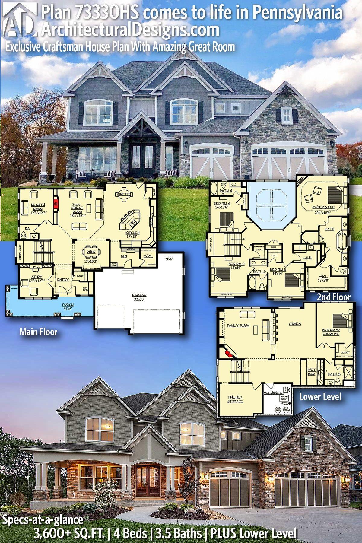 Architectural Designs Exclusive House Plan 73330HS client built