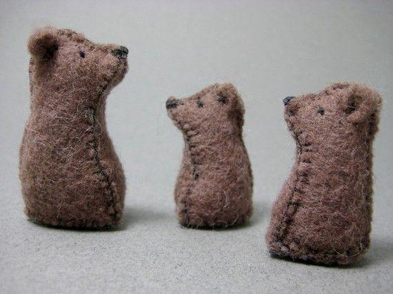Tiny Felt Bear Family by MuddyFeet on Etsy