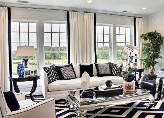 Pleated Linen Drapes Contrast Grosgrain Trim Two Tone Linen Etsy In 2021 White Living Room Decor Black And White Living Room Decor Black And White Living Room