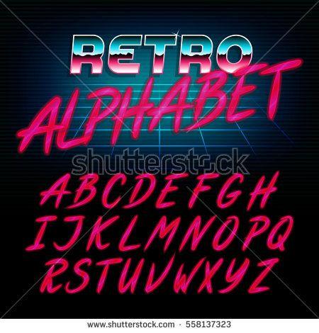 80 s retro alphabet