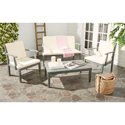 montclair 4pc acacia wood patio conversation set gray safavieh rh ar pinterest com