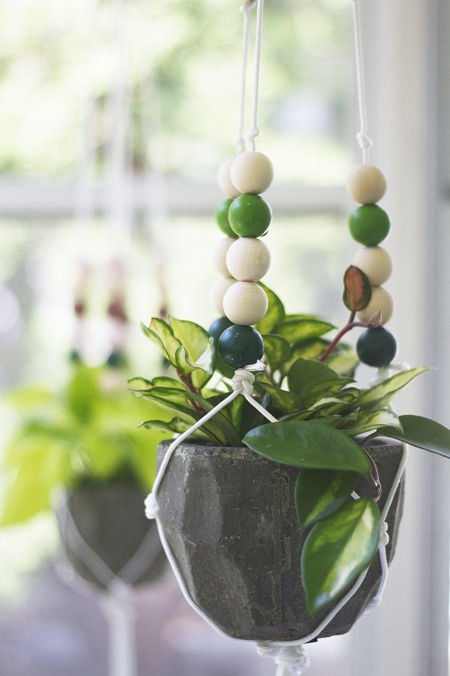 Make a Modern Beaded Macrame Planter Macrame
