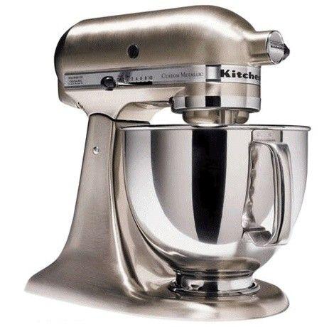 kitchenaid 5qt custom metallic series mixer brushed nickel rh pinterest com