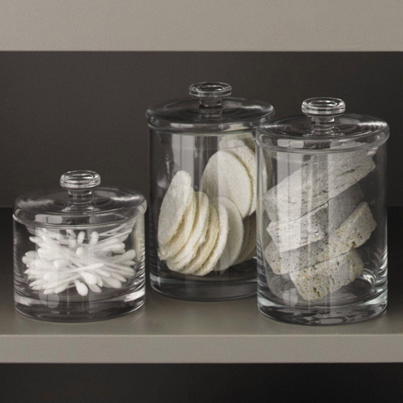 Glass Storage Jars For The Bathroom.
