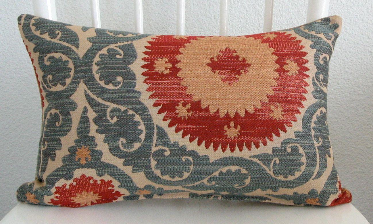 Decorative pillow cover - Lumbar pillow - Suzani pillow - 11x18 - Red - Teal - Blue - Carmel - Tan - Suzani - Designer fabric. $30.00, via Etsy.