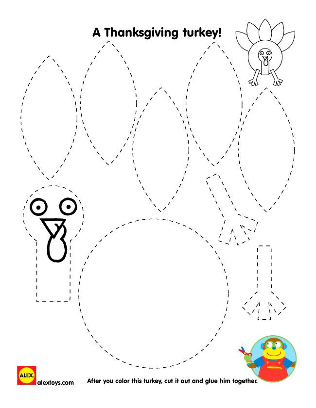 Thanksgiving Turkey Printables - AlexBrands.com #thanksgivingcrafts