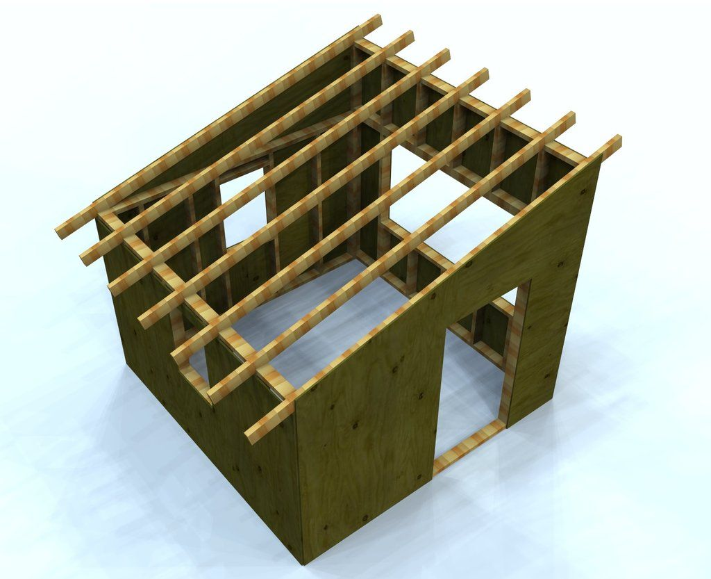 simple free playhouse plan with shed roof and 8x8 in size kid