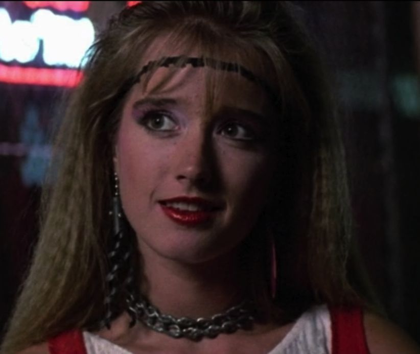 still from tuff turf, 1985 // crimping + thing headband + thick chain collar + gym wear = mmm