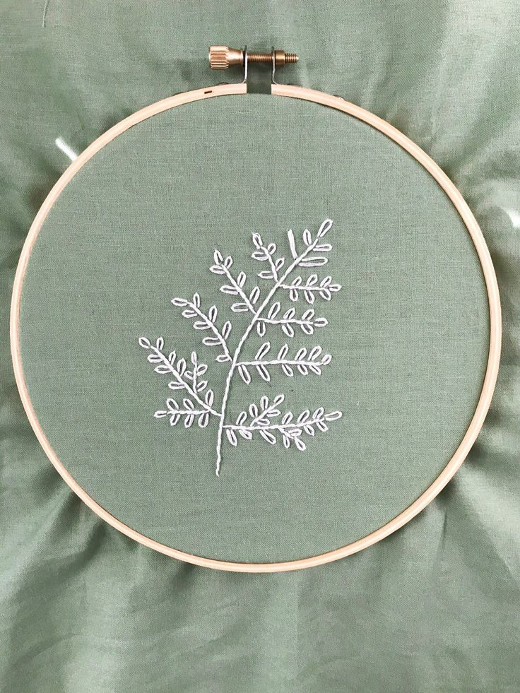 Embroidery hoop fern embroidered greenery white fern wall