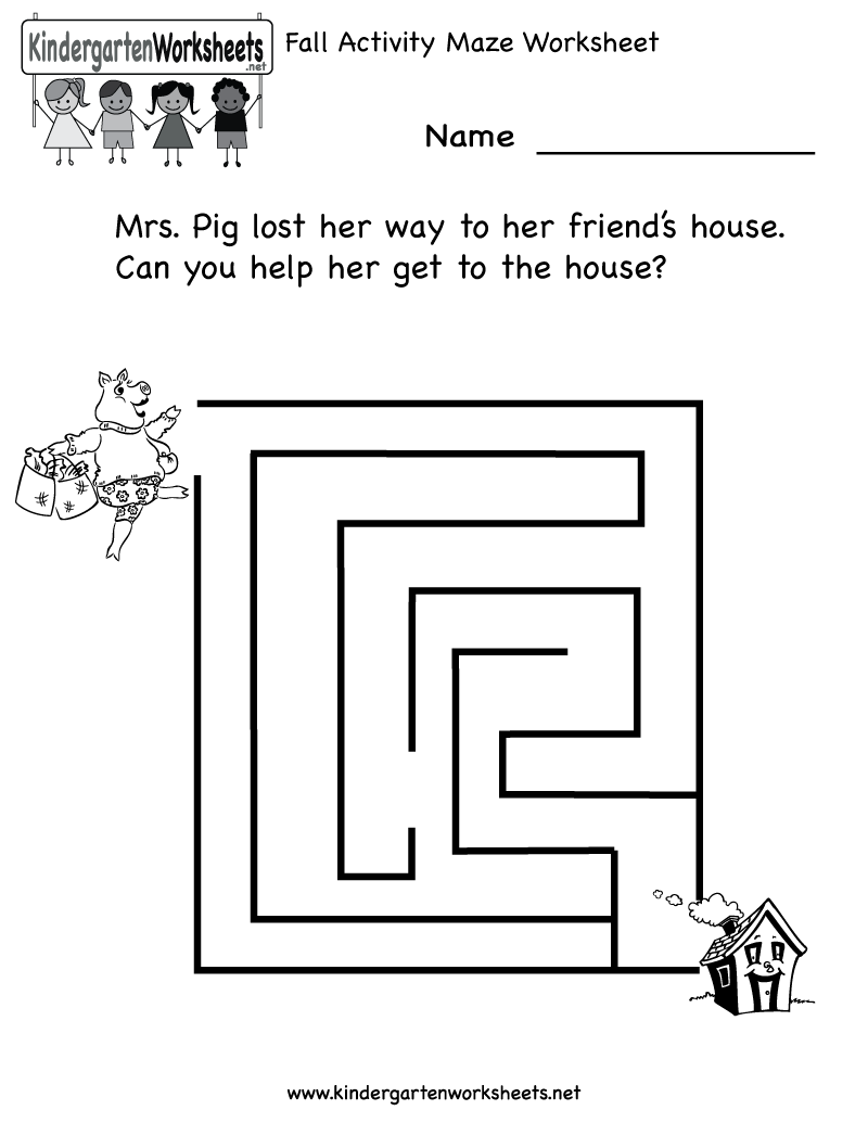 Kindergarten Fall Activity Maze Worksheet Printable – Kindergarten Maze Worksheets