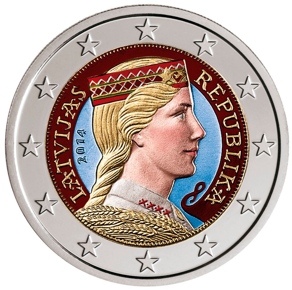 Details Zu 2 Euro Kursmünze Lettland 2014 In Farbe Ii Unz Latvija