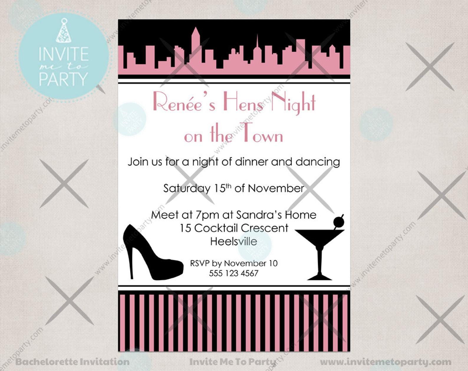 City Bachelorette Invitation Hens Night Invitation Girls