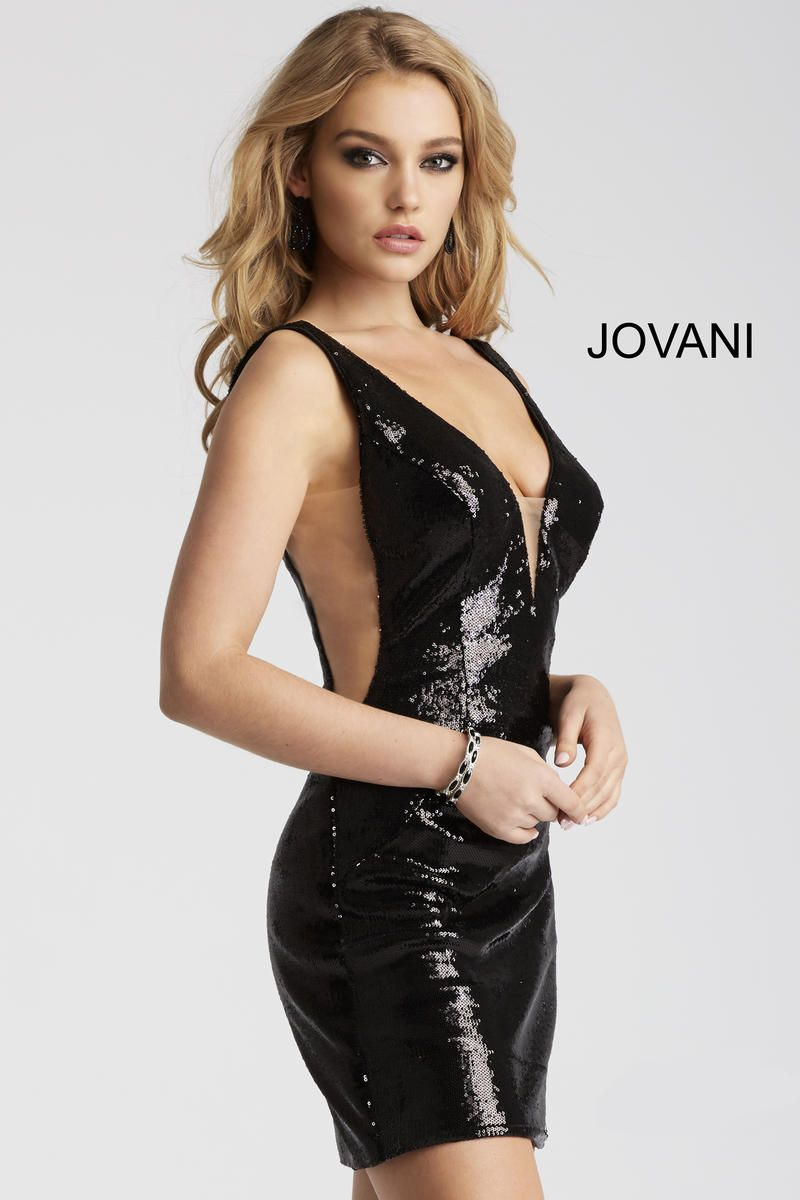 1ce2a0fd1ea3 Style 52266 from Jovani is a sleeveless fitted sequin cocktail dress with a low  back and sheer sides.
