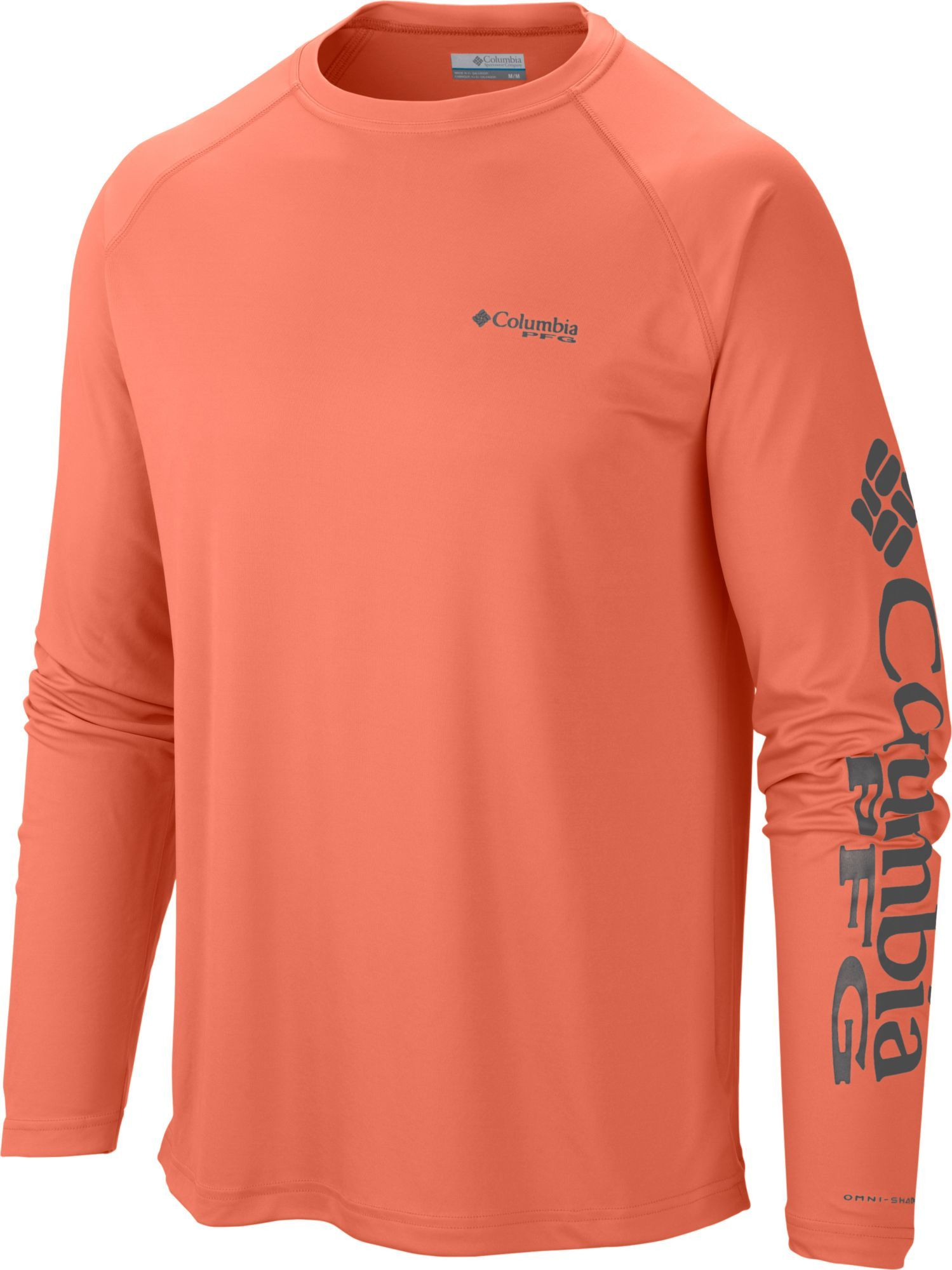 a892db9a Columbia Men's PFG Terminal Tackle Long Sleeve Shirt - Tall, Size: 3XT,  Bright Peach/Grill Logo
