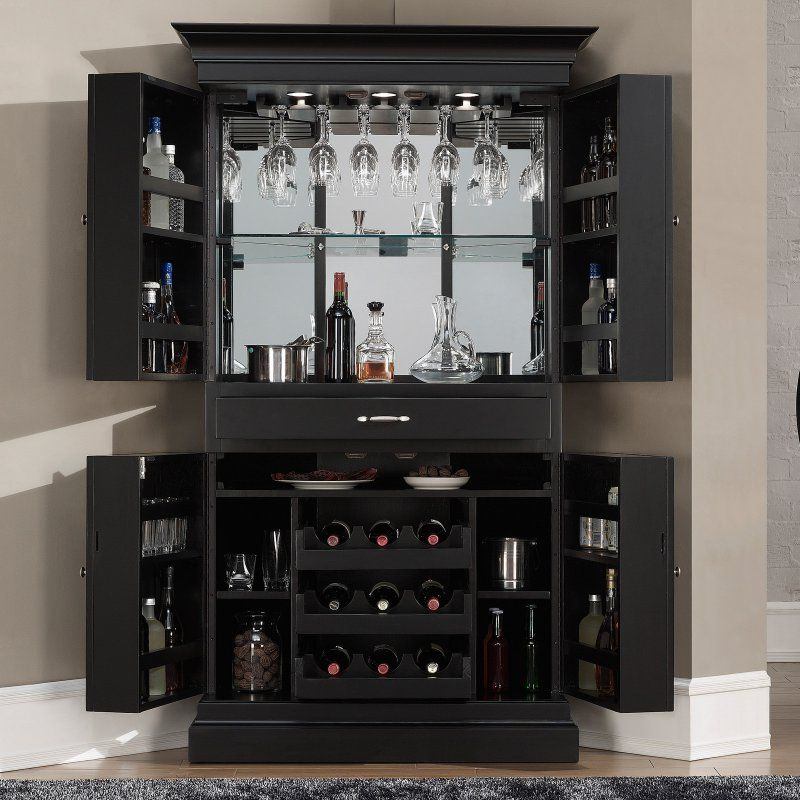 AHB Francesca Corner Bar Cabinet Black