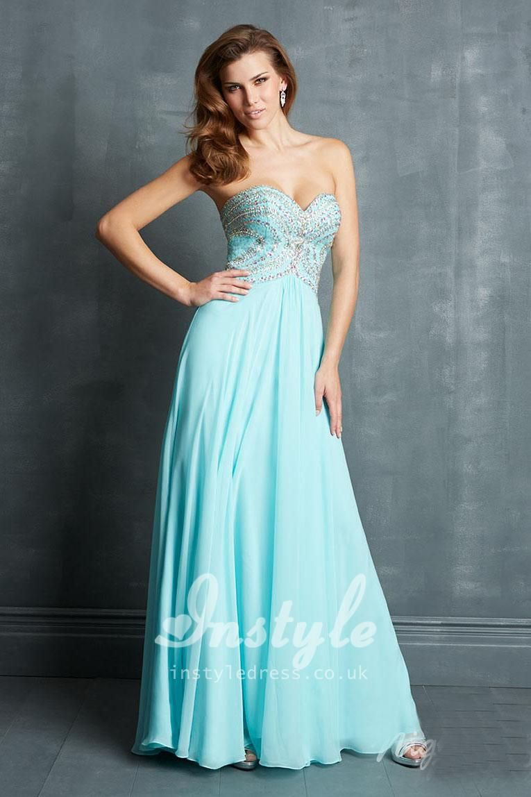 Sweetheart floor length chiffon prom dress with jewlled bodice