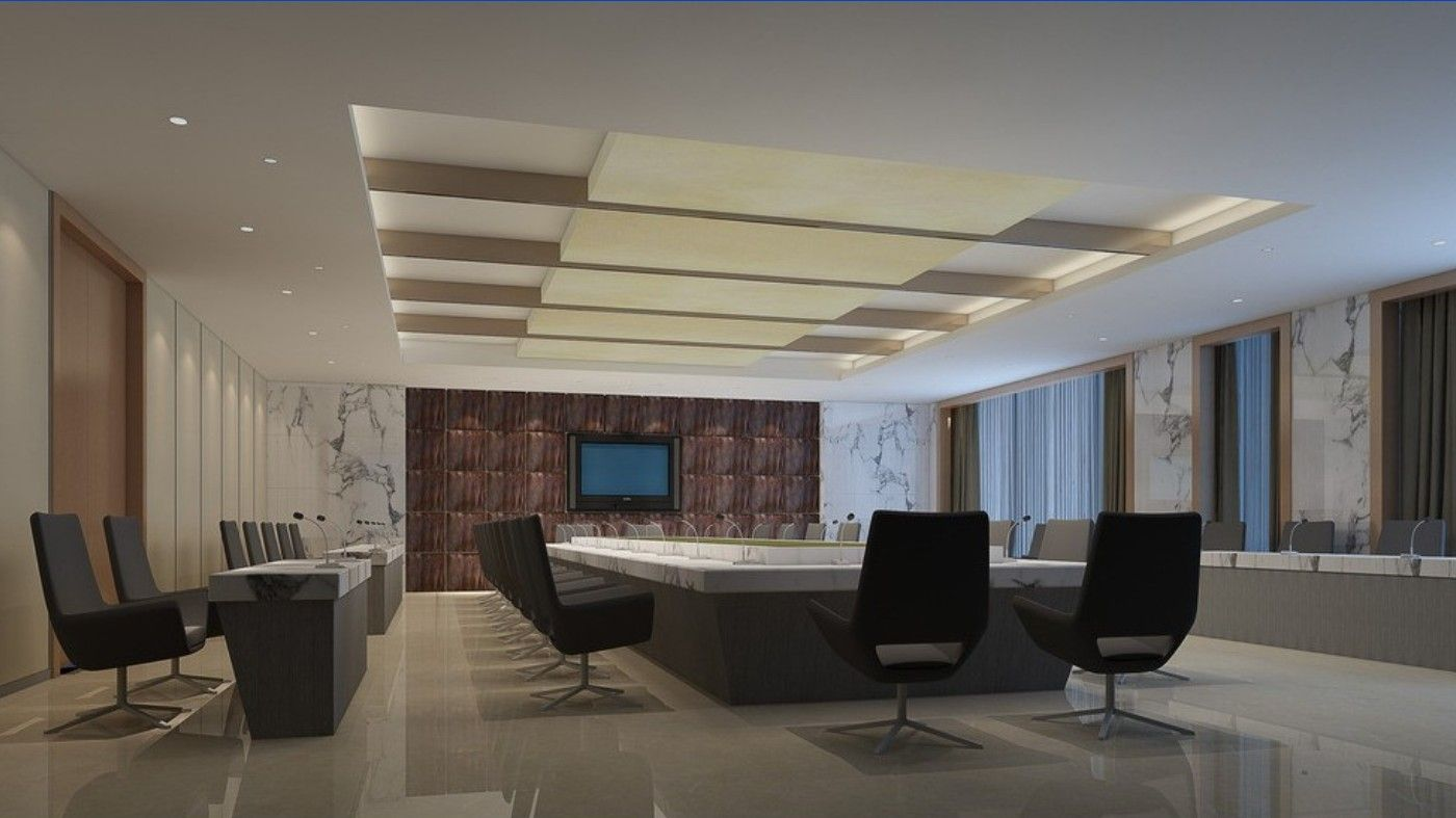 Genius And Inspirational Conference Room Ceiling Designs With ... for Simple Office Ceiling Design  83fiz
