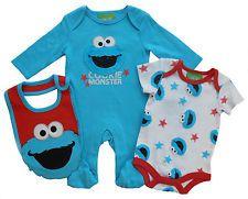 3ff8dd391 Cookie Monster Sesame Street Babygrow Bodysuit   Bib 3 Piece Outfit ...