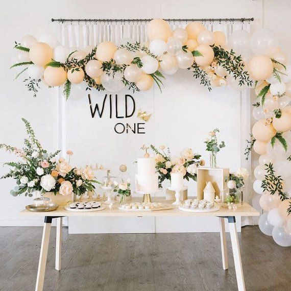 Wild One Backdrop Sign - Laser Cut Acrylic First Birthday Wall Decor with Crown accent, Childrens Nursery Bedroom Sign