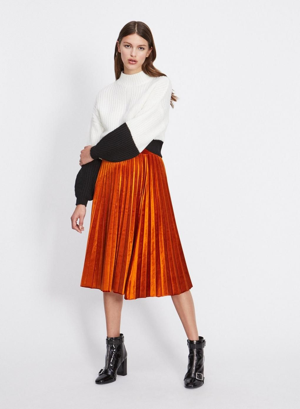 Rust Velvet Pleated Skirt - Must Haves - Clothing - Miss Selfridge 1bfc3324d81