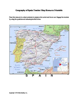 Map Of Spain For Classroom.Geography Of Spain Map And Worksheet Package With Answer Keys