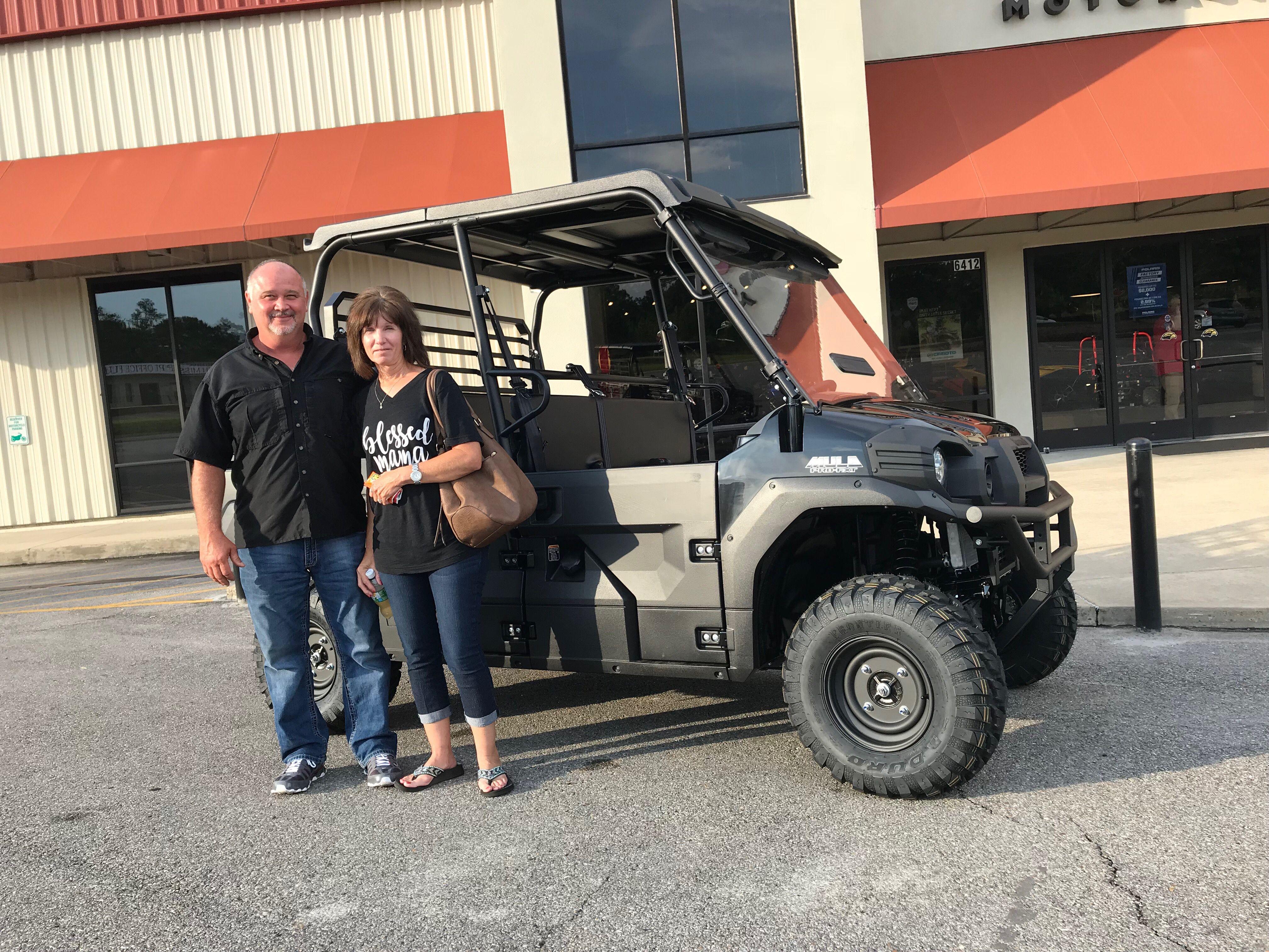 Congratulations To Kendall And Deborah Hughes From Lake MS For Purchasing A 2019 Kawasaki Mule Pro FXT At Hattiesburg Cycles