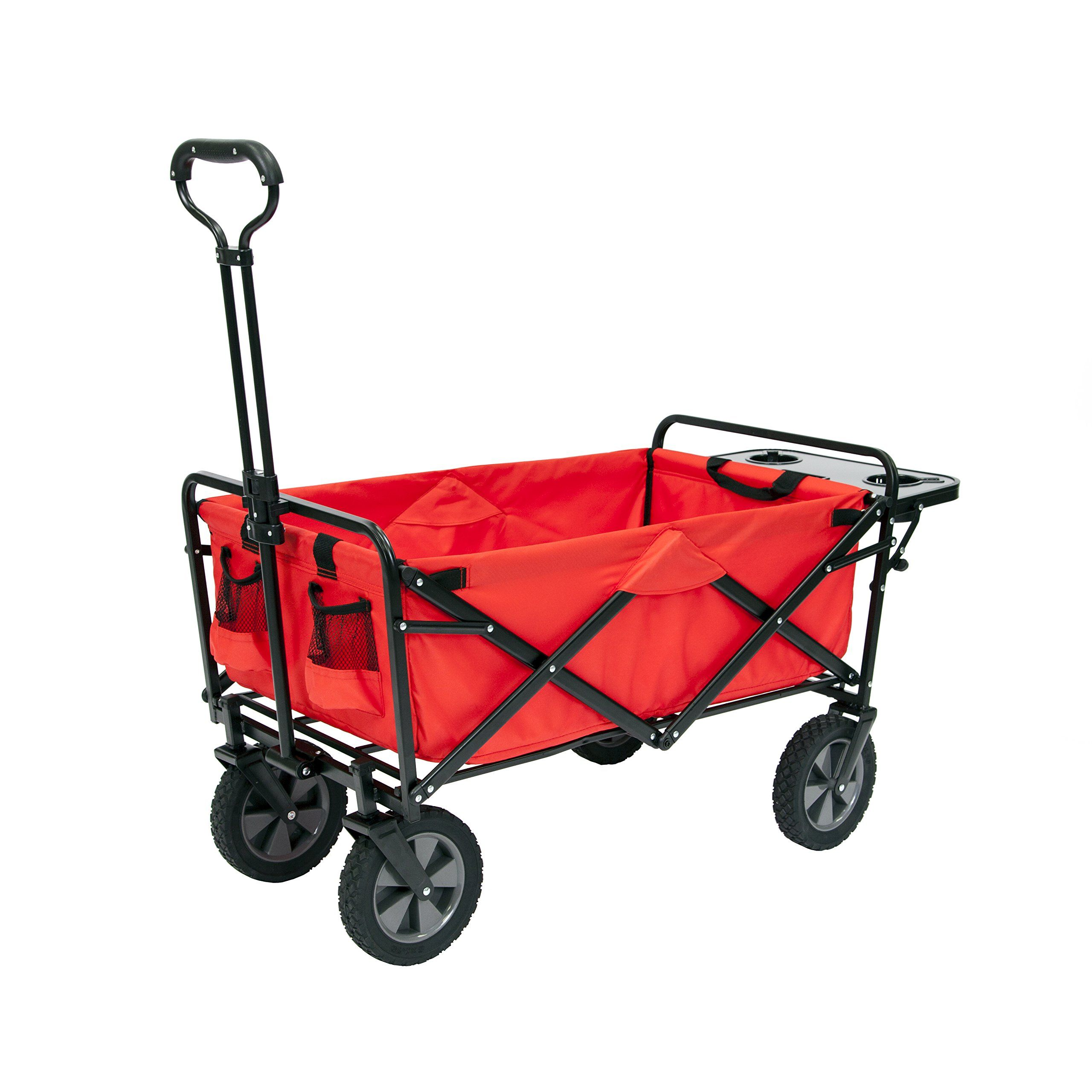 Mac Sports Collapsible Folding Outdoor Utility Wagon Wagon With Side Table Red Check This Awesome Product Utility Wagon Garden Side Table Black Side Table