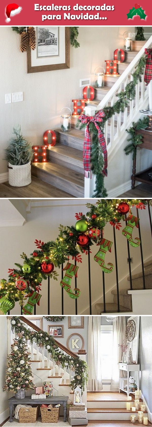 Decoración de escaleras para Navidad. Decoración navideña para escaleras.