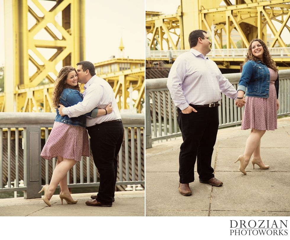 The yellow bridge in the background here is the spot where they had their first kiss.  #Sacramento #Engagement #Photography #DrozianPhotoworks