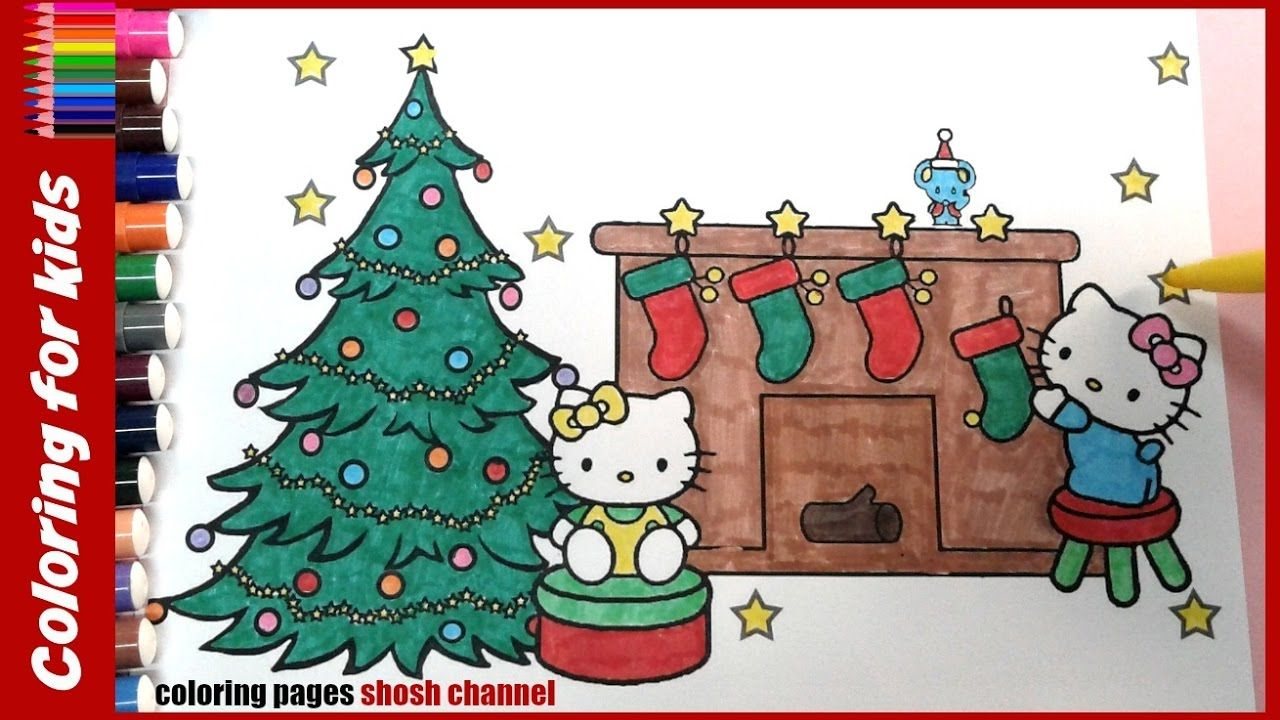 christmas hello kitty colouring pages with xmas tree ...