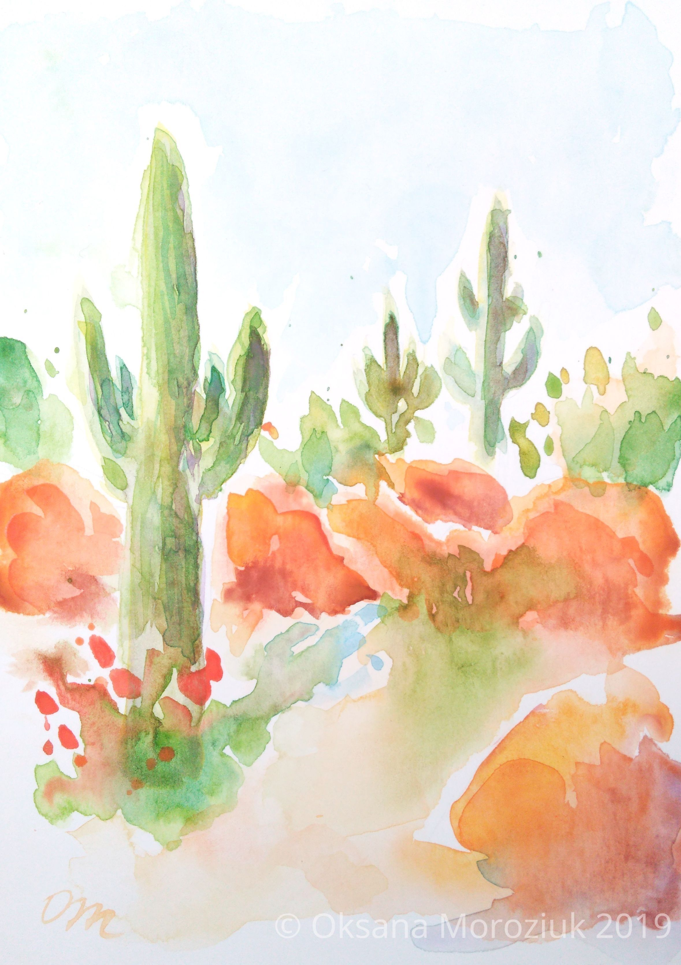 Cactus Watercolor Painting Boho Cactus Art Colorful Succulent