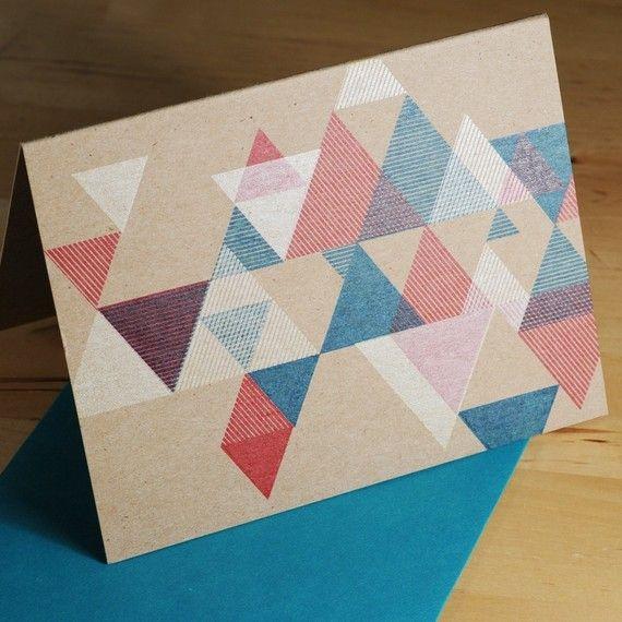 desTroy   hand-printed triangular pattern card