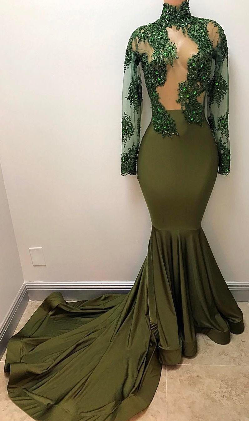 Gorgeous Long Illusion Mermaid HighNeck LongSleeves Prom Dresses