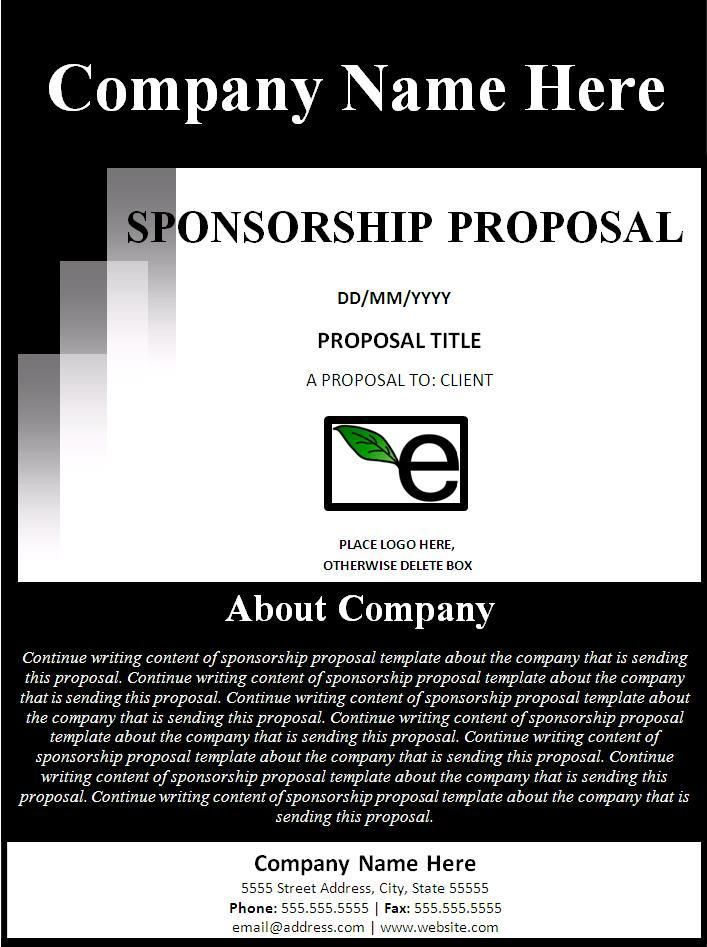 Sponsorship Proposal Template - I like the about section on the - sample cover page