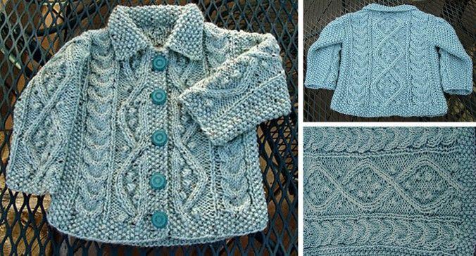 Aquamarine Knitted Baby Cardigan Free Knitting Pattern Knitting