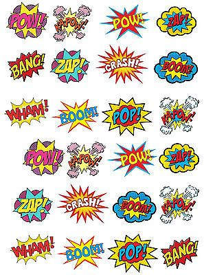 24 Stand Up Superhero Retro Pow Zap Comic Book Edible Wafer Paper Cake Toppers #comicbooks