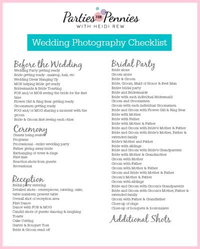 Wedding Photography Checklist By Partiesforpennies.Com #Wedding