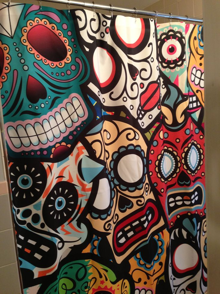 sugar skull shower curtain - Google Search | bathroom ideas ...