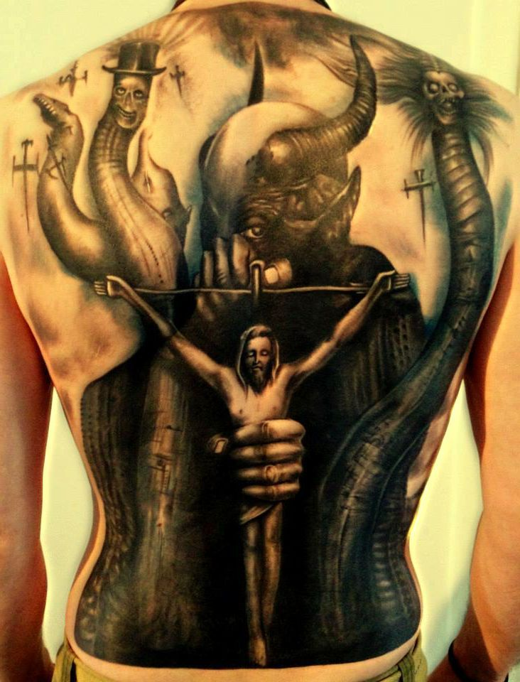 jesus and the devil tattoo tattoos pinterest devil tattoo tattoo and tatting. Black Bedroom Furniture Sets. Home Design Ideas