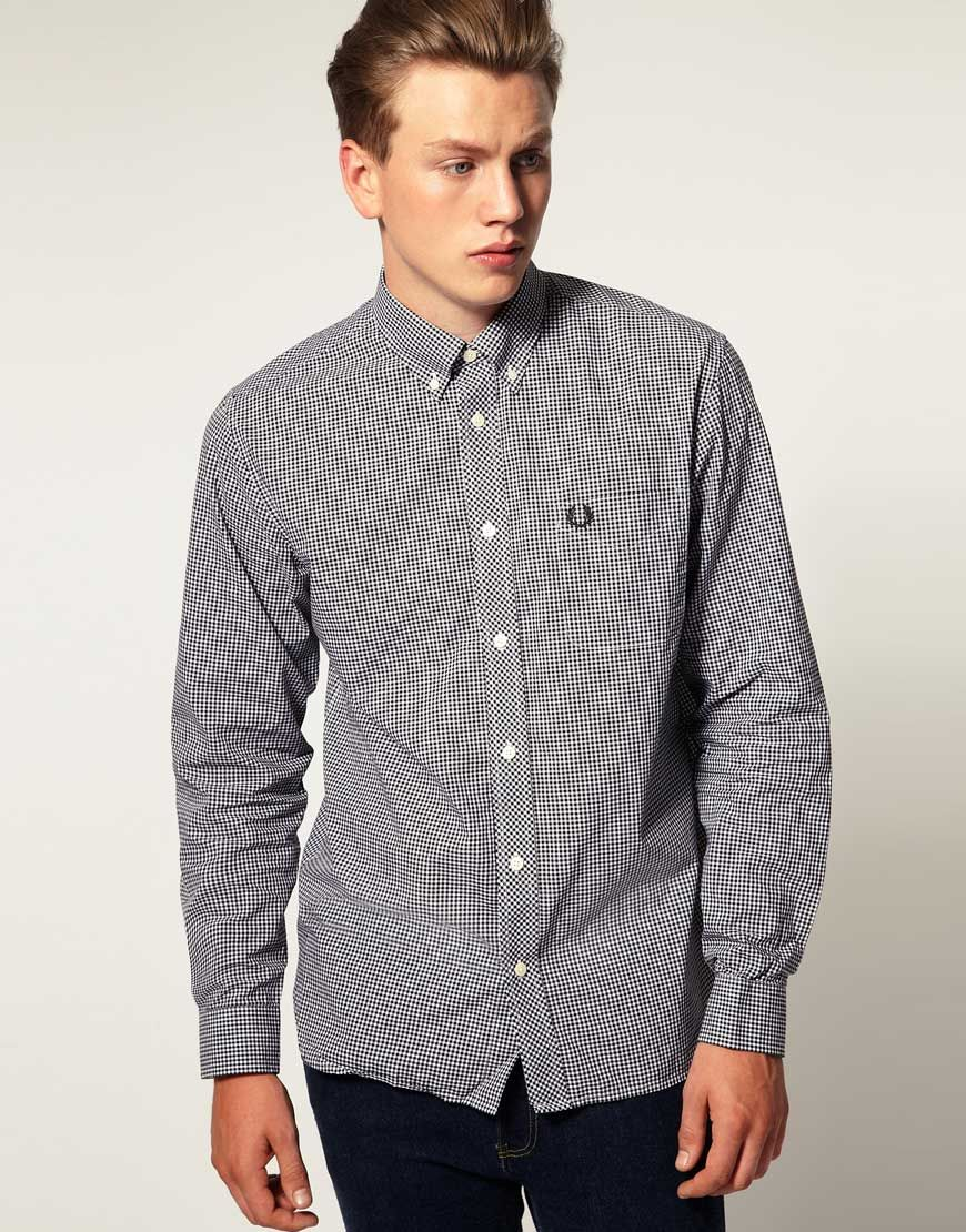 ++ fred perry long lseeve gingham check shirt
