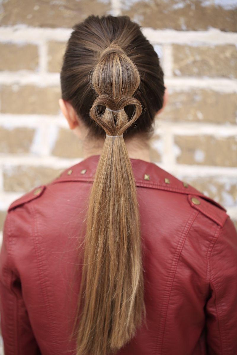 Heart ponytail valentineus day hairstyles heart hairstyles