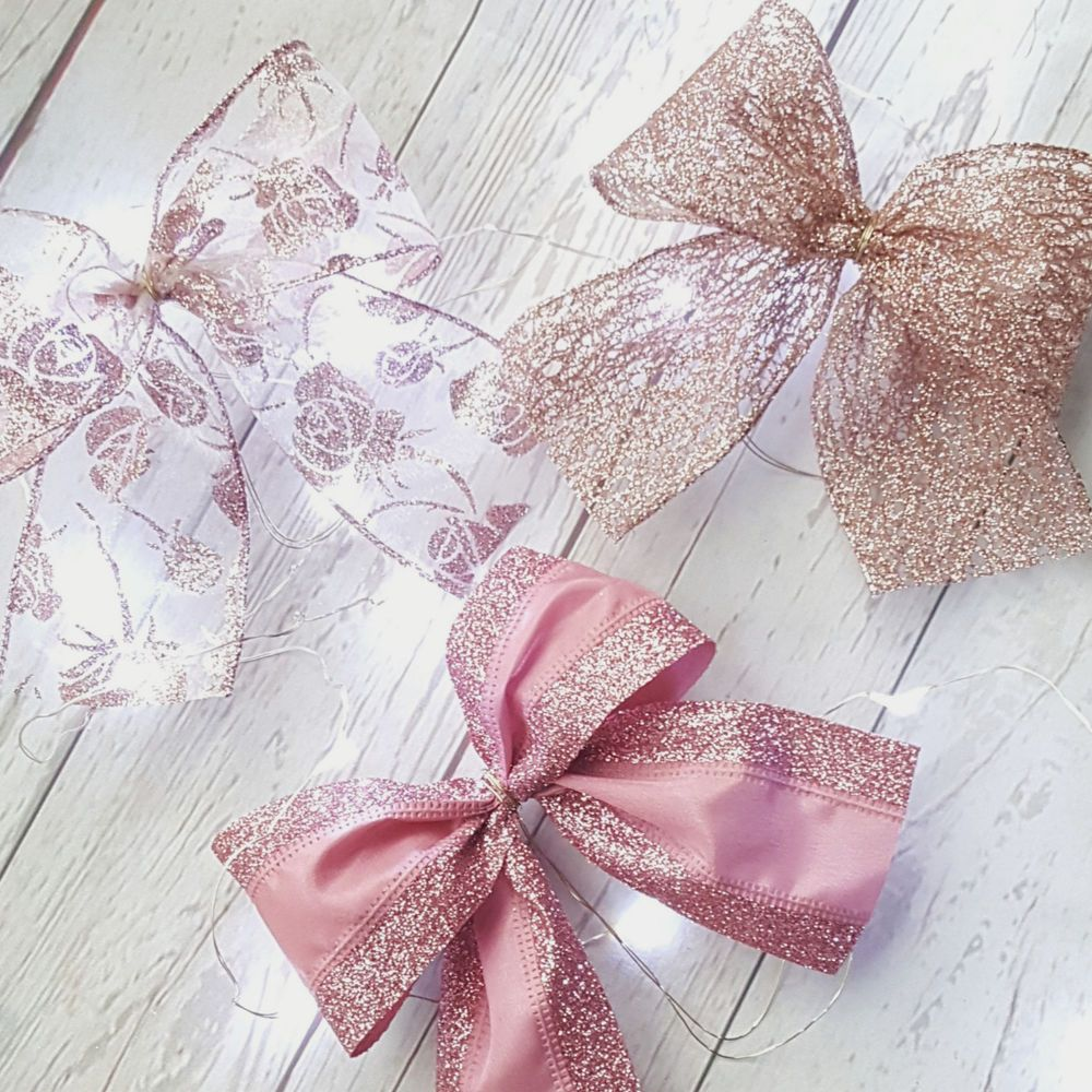 3 X Wired Pink Rose Gold Ribbon Christmas Tree Bows Decoration Blush Glitter Bow Christmas Tree Bows Rose Gold Christmas Tree