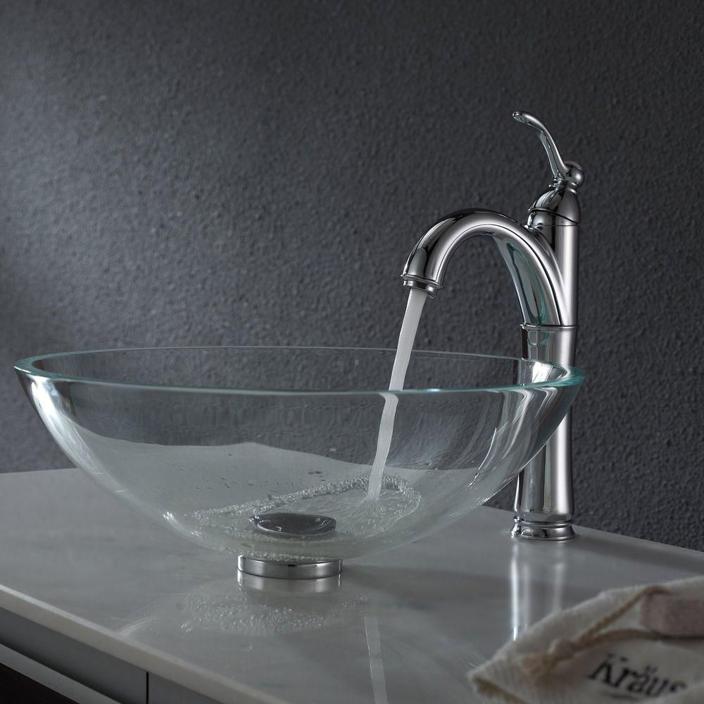 Kraus Glass Vessel Sink In Crystal Clear Crystal Clear Glass