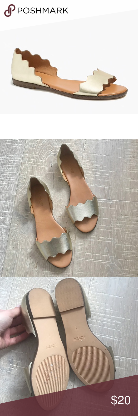 9d1838f0f88 J.Crew Factory Leather scalloped peep-toe flats Brand new without ...