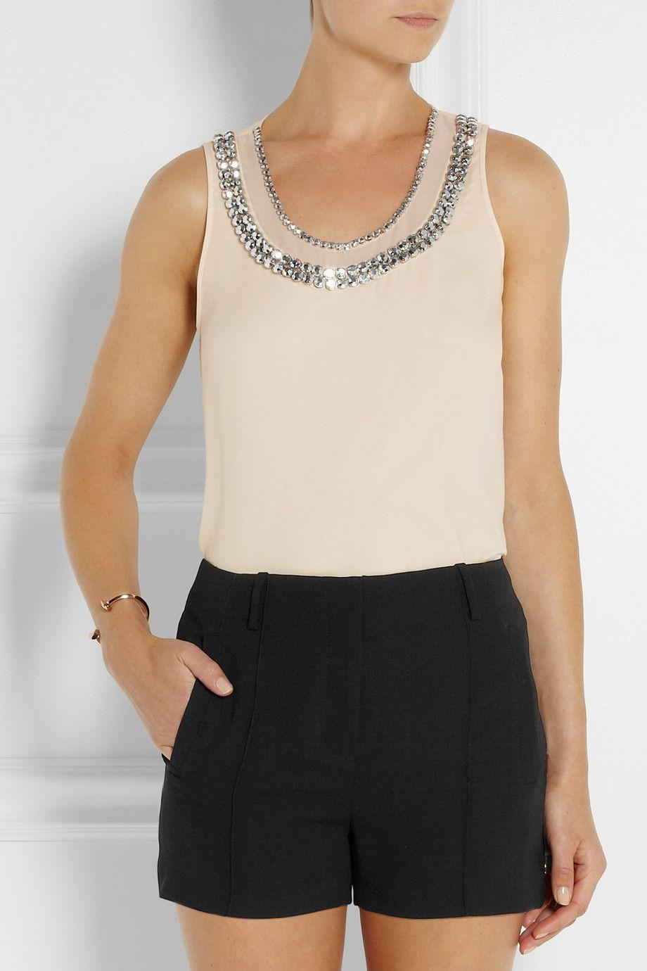 Diane von Furstenberg|Ade crystal-embellished silk-chiffon top|NET-A-PORTER.COM