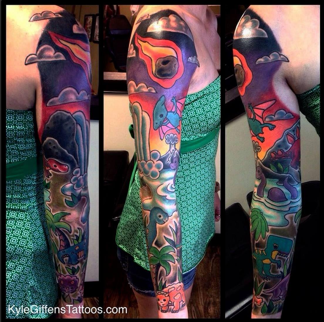 Dinosaur sleeve by Kyle Giffen in Austin TX at Little Pricks Tattoo ...
