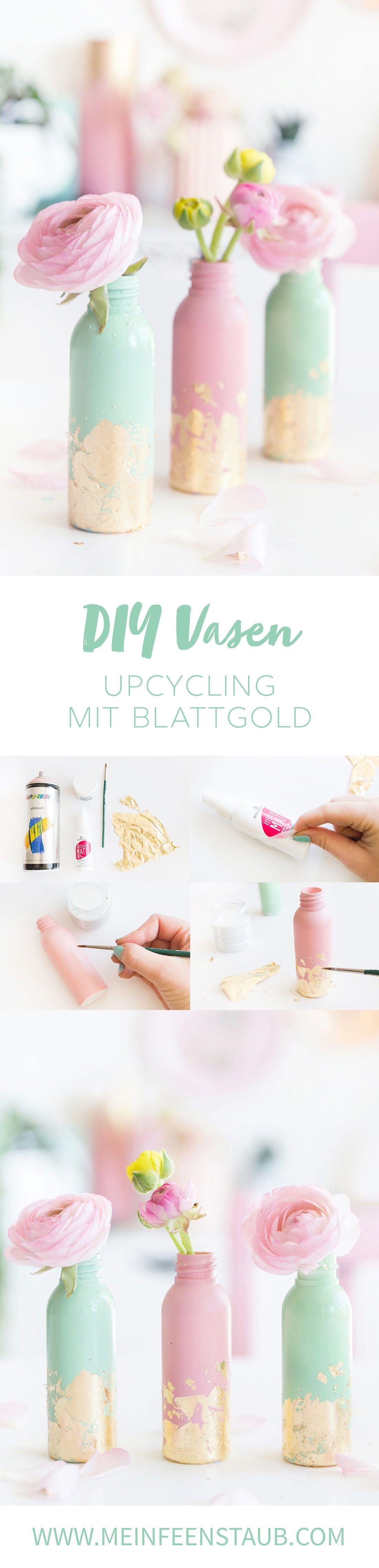 Diy mini vasen mit blattgold diy crafts upcycling - Blattgold basteln ...