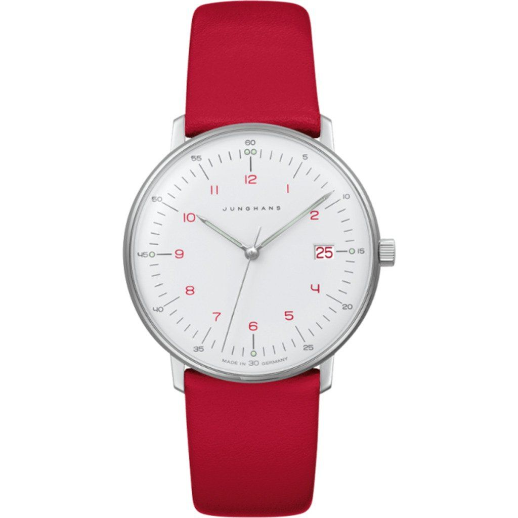 Junghans Max Bill Ladies Quartz Wrist Watch White Red Calf Leather 047 4541 00