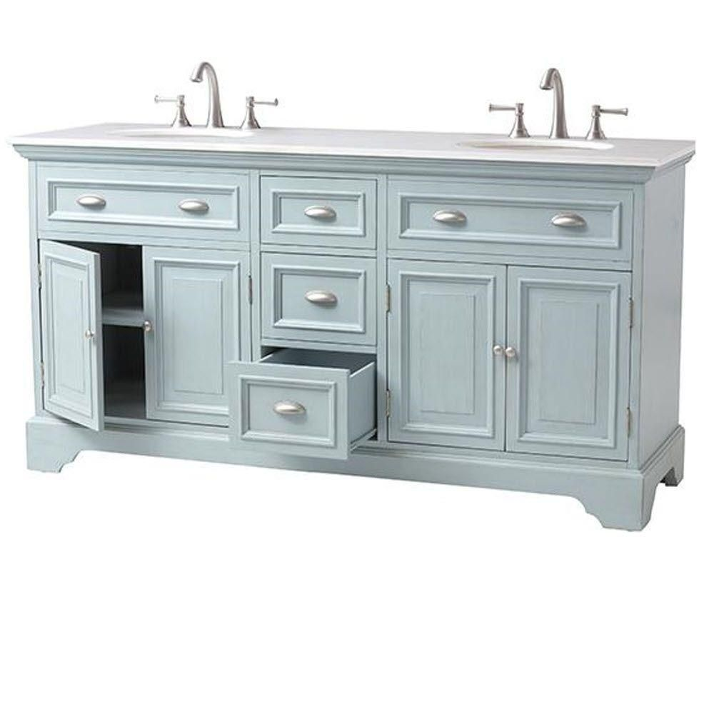 Home Decorators Collection Sadie 67 In. Double Vanity In Antique Blue With  Marble Quartz Vanity